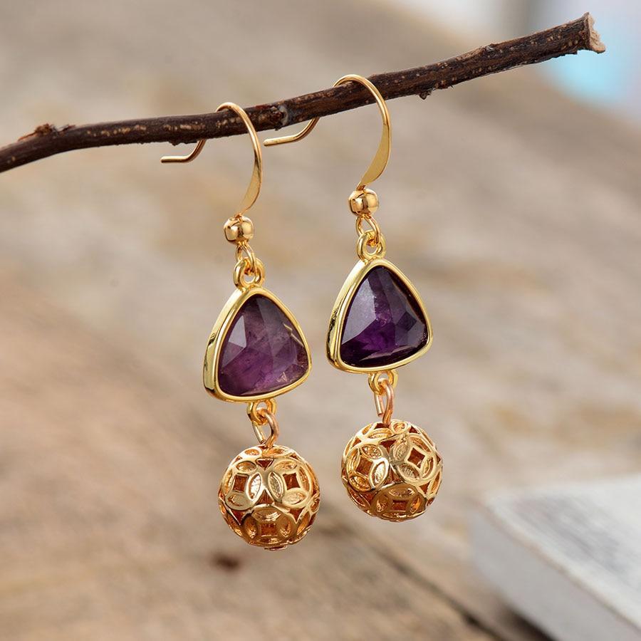 Amethysts Gemstone Stone - Elegant Women Dangle Earrings