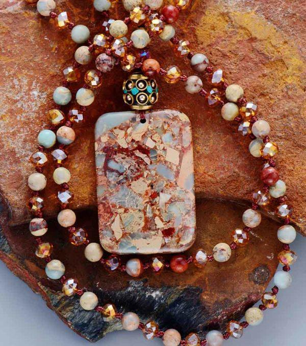 Ancient Stones Boho Beaded Pendant  Necklace
