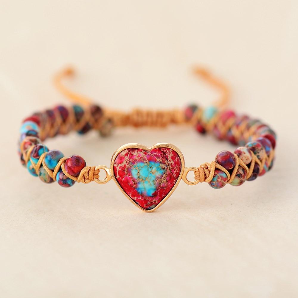 Lilac Heart Charm Braided Bracelet