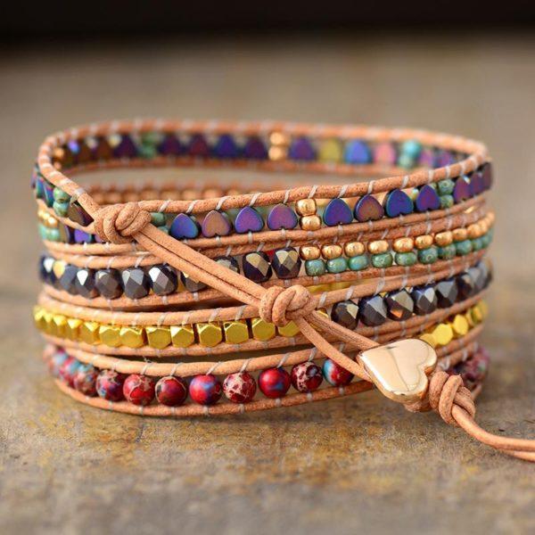Heart Charm Leather Wrap Bracelet