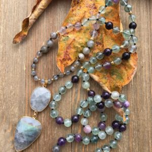 Moon Stone & Labradorite Beaded Necklace