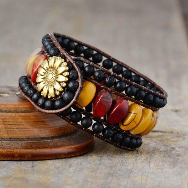 Dawn Sunflower Bohemian Wrap Bracelet