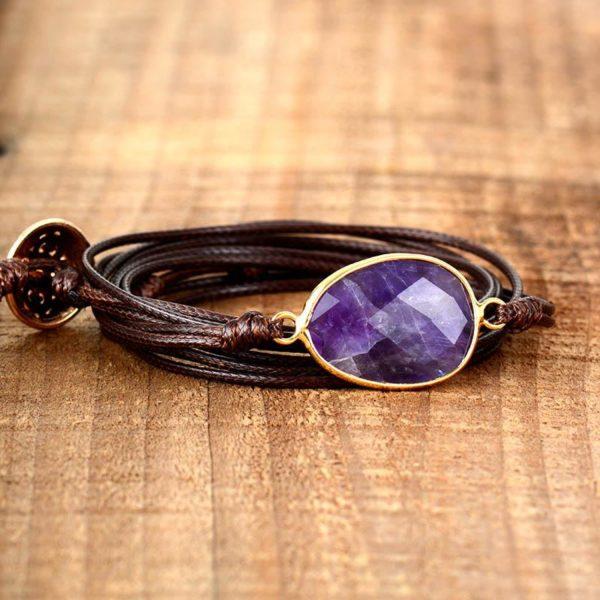 Amethyst Crystal Charm Vegan Bracelet