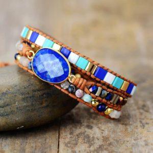 Ocean Blue Lapis Wrap Bracelet