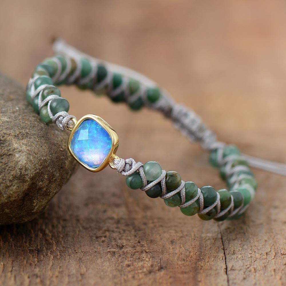 Moon Magic Opal Charm Braided Beads Bracelet