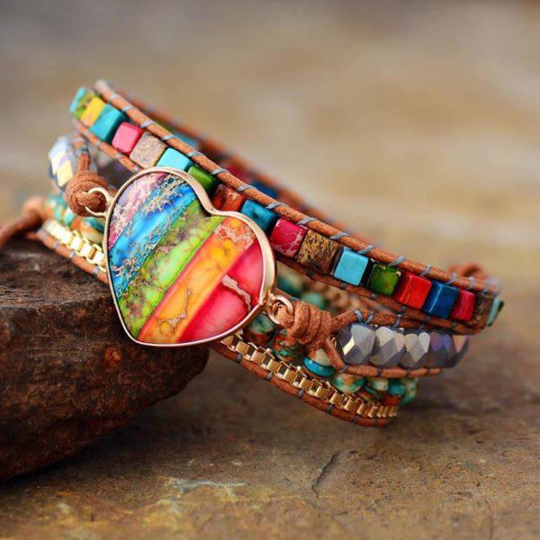 RainBow Heart Stone Boho Leather Wrap Bracelet