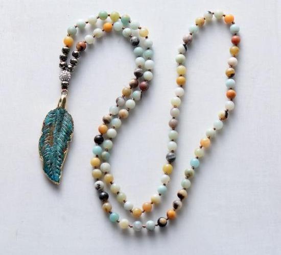 Leaf Pendant Amazonite Beaded Necklace