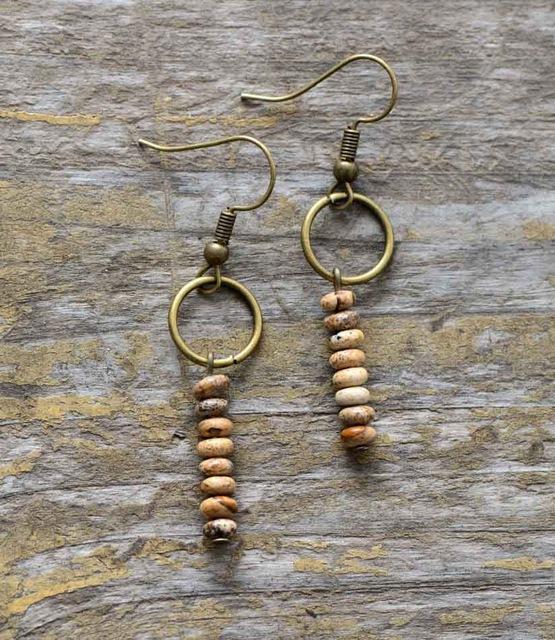 Vintage Jasper Beaded Earrings