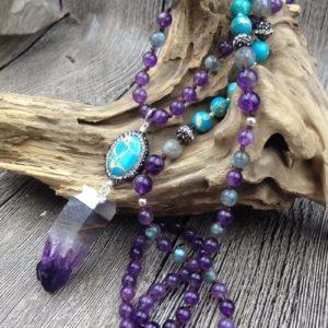 Amethyst Crystal & Turquoise Stone Boho Chic Beaded Necklace