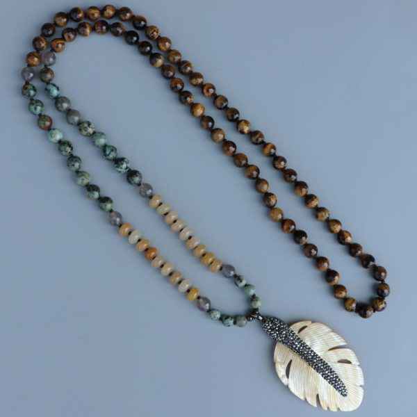 Wild Leaves Shell Leaf Pendant Tiger Eye Beaded Necklace