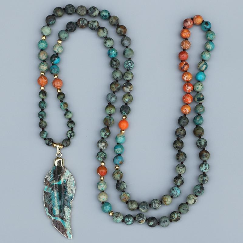 African Jungles Leaf Pendant hand made with high quality African Turquoise Beaded Necklace