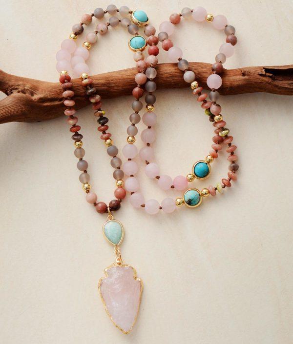 Rose Quartz Arrowhead Charm Pendant Beaded Necklace