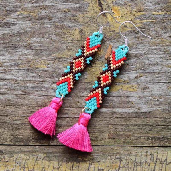 Malakai Colorful Seeds Tassel Earrings