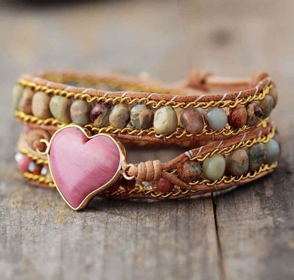Harmony Heart Rhodonite Wrap Bracelet