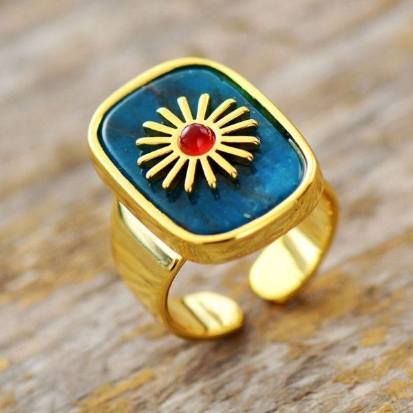 ApatiteGemstone Golden Rings