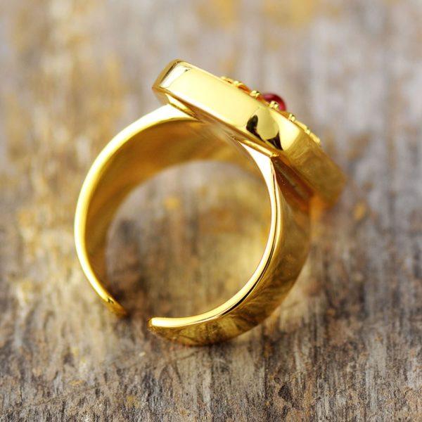 Rhodonite Gemstone Golden Rings