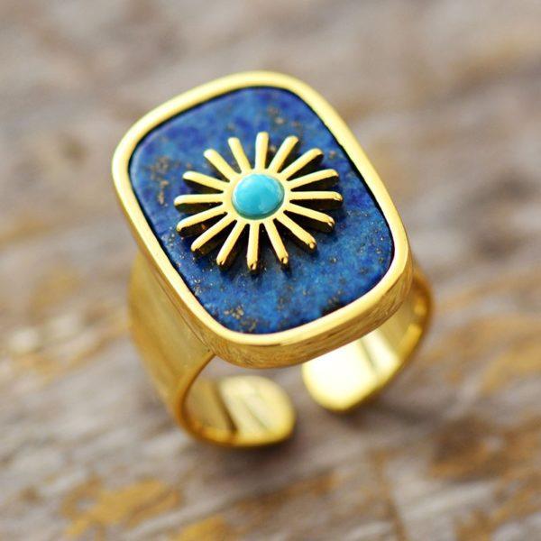 Lapis Gemstone Golden Rings