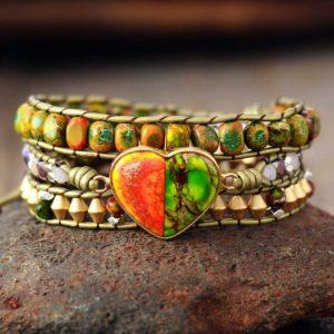 Nature's Heart Leather Wrap Bracelet
