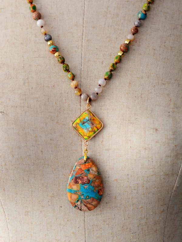 Heart of the Forest Stone Pendant Necklace