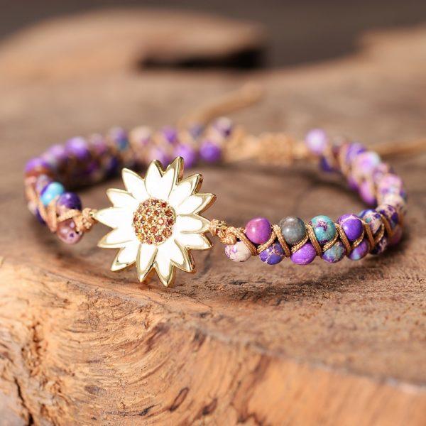 Daisy Charm Braided Bracelet