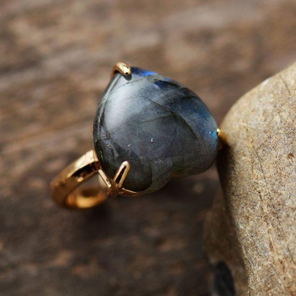 Heart Gemstone Rings labradorite stone rings