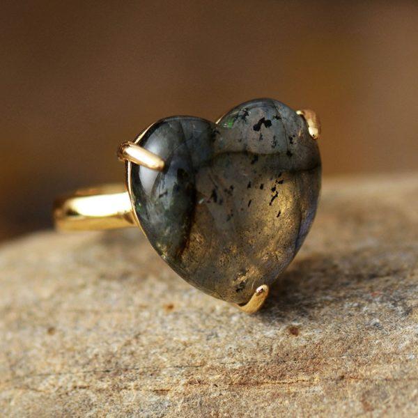 Heart Gemstone Rings