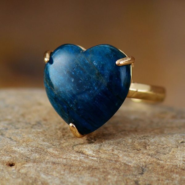 Heart Gemstone Rings Apatite ring