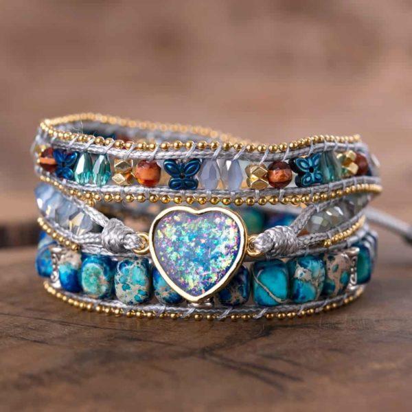 Moonbeam opal stone charm multilayered Leather wrap bracelet