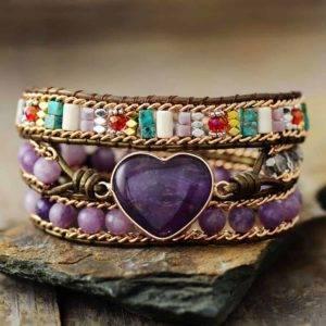 Amethyst Stone Salvia Wrap Bracelet