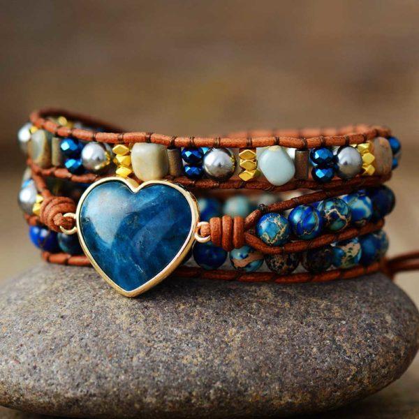 Ocean Heart Apatite Wrap Bracelet