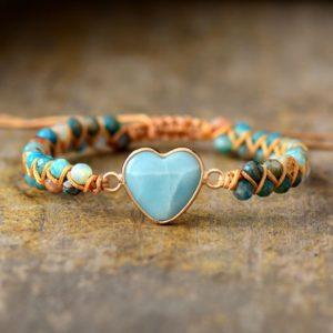 Amazonite Heart Braided Beads Bracelet