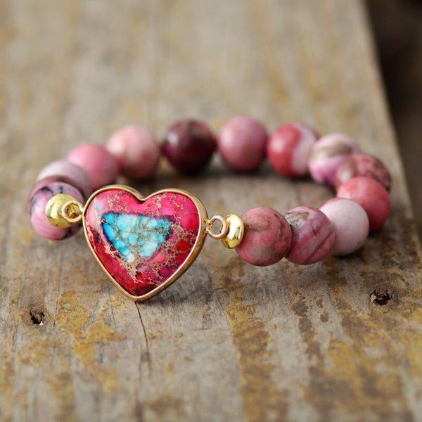 Natural Stone Bracelet Gemstone Bracelet Women Jewelry Jewelry Gifts , Heart Charm Elastic Bracelets