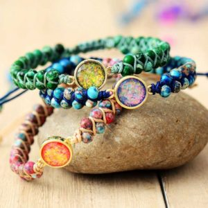 Opal Charm Jasper Braided Bracelets